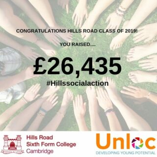 A massive congratulations to the Hills Road Class of 2019!  On the 3/6/19 you where tasked to set out on Social Action Week project to help your local and global communities.  Only 4 days later, not only did you beat last years figures, but you also smashed your own target for 2019!  An incredible achievement for all of you... A little can go along way and this is proof... Well done from the Unloc team! @hillsroadnews #hillssocialaction #developingyoungpotential